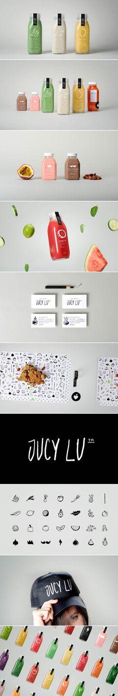 Identity / Jucy Lu Fresh Juice Packaging Design by El Autobus