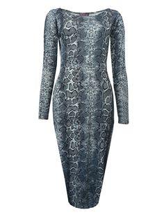 Long Sleeved Print Midi Dress  £8.99    www.exciteclothing.com