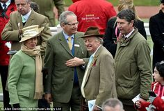 Sea of green: Equestrienne Princess Anne was later spotted chatting to chairman Robert Waley-Cohen, Camilla's ex-husband Andrew Parker-Bowles and her husband Vice Admiral Sir Tim Laurence Princess Anne, Royal Princess, The Queens Children, Timothy Laurence, Autumn Phillips, Mike Tindall, Prince Charles And Camilla, Ex Husbands, Queen Elizabeth Ii