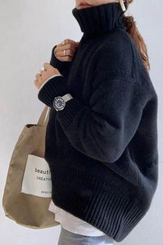Mode Outfits, Casual Outfits, Fashion Outfits, Womens Fashion, Latest Fashion, Fashion Tips, Fashion Trends, Ribbed Turtleneck, Mode Inspiration