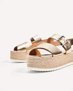 Image 4 of LEATHER WEDGES WITH JUTE PLATFORM from Zara