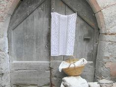 White cotton crochet curtain. French cafe by frenchvintagedream, $40.00