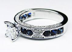 Princess Cut Diamond Vintage Engagement Ring with Blue-Sapphire Accents iamninja