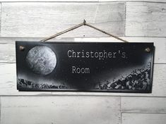 Space themed door sign, black and white, moon theme, personalised plaque Bedroom Door Signs, Bedroom Doors, Mountain Silhouette, Personalized Plaques, Shades Of Black, Kids Decor, Moon, Hand Painted, Black And White