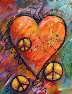 ☮ American Hippie Psychedelic Heart Peace Sign