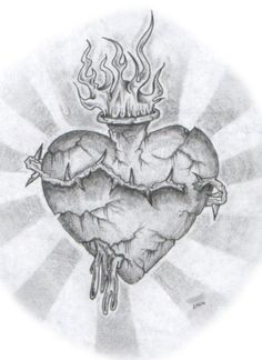 This is a sketch of a Stone Sacred Heart. I drew this one day while I was killing time at my job. It only took about 30 minutes to do, but I really liked the way it turned out.