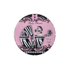 Baby Shower Cute Baby Girl Pink Zebra Favor Jelly Belly Candy Tins #baby #babyshower #shower #cute #custom #candytins #tins #girl