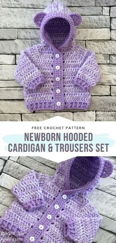 Ravelry Free Crochet Patterns, Crochet Baby Cardigan Free Pattern, Crochet Baby Pants, Newborn Crochet Patterns, Crochet Baby Sweaters, Crochet Girls, Crochet Bear, Cute Crochet, Crochet For Kids