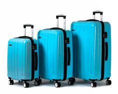 Jipin Gardena Polycarbonate Spinner 3 Piece Luggage Set (skyblue)