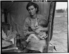 "Breastfeeding Images from Our Past - Mothering Community. ""Migrant agricultural worker's family. Nipomo, California 1936."""