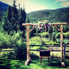 Our rental arch all dressed up with a centered floral focal point. Petal and Bean, Breckenridge Lakeside Reception, Keystone Resort, Mountain Weddings, Wedding Altars, Wedding Inspiration, Wedding Ideas, Mountain Resort, Summer Events, Old World Charm