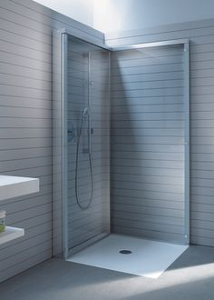 OpenSpace is a shower screen that transforms to a discreet wall panel. A frame in brilliant chrome look provides the outer contours. Two lar...