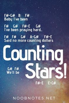 Counting Stars - One Republic music notes for newbies: Counting Stars – One Republic. Play popular songs and traditional music with note letters for easy fun beginner instrument practice - great for flute, piccolo, recorder, piano and Music Notes Letters, Piano Sheet Music Letters, Clarinet Sheet Music, Easy Piano Sheet Music, Piano Music Notes, Saxophone Music, Bass Clarinet, Music Chords, Trombone