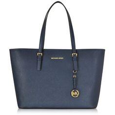 Michael Kors Handbags Jet Set Travel Saffiano Leather Medium T Z Tote (£245) ❤ liked on Polyvore featuring bags, handbags, tote bags, navy blue, travel tote, navy blue tote bag, pocket tote, travel purse and michael kors tote bag