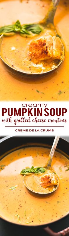 Creamy Pumpkin Soup with Grilled Cheese Croutons will leave you craving more all season long.   lecremedelacrumb.com