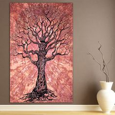 Tree of Life Coffee Tapestry Indian Hippie Wall by TapestriesHome