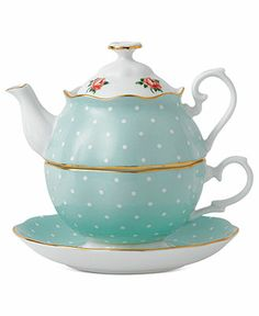 Royal Albert Dinnerware, Polka Rose Tea Set for One - Fine China - Dining & Entertaining - Macy's