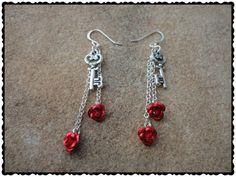 Alice in Wonderland Earrings  Silver Key Charms by ScorpioFashions