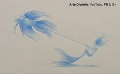 Cómo dibujar una sirena y pez - Dibujo surrealista Mira el video: http://youtu.be/cXiRyh-FK94 #dibujo #surrealista #arte #ArteDivierte #sirena #pez