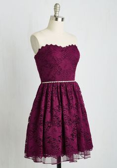 Go Awe In Dress. When its time to fancy up, you pull out all the stops by sporting this plum lace fit and flare! #red #wedding #bridesmaid #modcloth