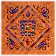 Dying Embers - an original Hardanger design for those who prefer bright-on-bright to white-on-white