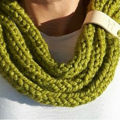 Loop Scarf- Green by Hurd & Co. These green chunky knit loop scarves are a great Spring accessory to add a splash of colour and comfort to an outfit. The branded leather tag adds to the country look. Chunky Knitwear, Loop Scarf, Color Splash, Scarves, Colour, Country, Knitting, Outfit, Spring