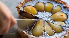 Saffron pear and chocolate tart recipe : SBS Food