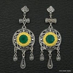 NATURAL GREEN ONYX FILIGREE 925 STERLING SILVER & 22K GOLD PLATED GREEK EARRINGS #IreneGreekJewelry #DropDangle