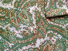 Your place to buy and sell all things handmade Shades Of Green, Paisley Print, Yellow, Fabric, Etsy, Vintage, Instagram, Products, Tejido