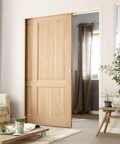 Pour une finition parfaite, Kit d'habillage pour porte coulissante à galandage en bois télescopique Eclisse. Pour porte de largeur : 2 x 63 à 2 x 103 cm. 188 euros l'unité. Leroy Merlin.