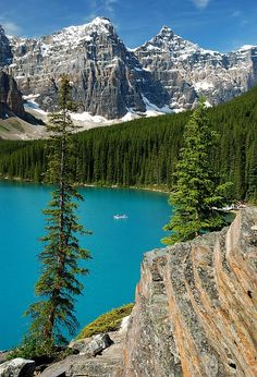 Visit a glacial lake Moraine Lake - Banff National Park, Alberta, Canada gets it's turquoise color from glacial flour