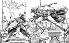 Bloodborne: Father Gascoigne vs the Good Hunter by MenasLG on DeviantArt