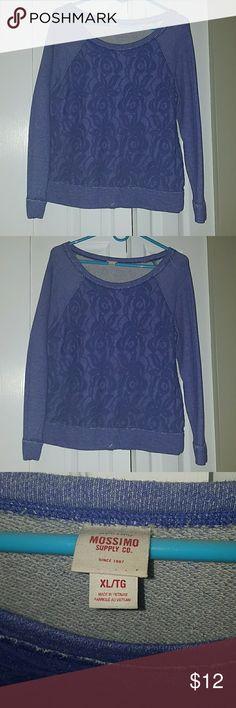 Mossimo lace front sweatshirt Pretty purple/blue lace front sweatshirt Mossimo Supply Co Tops Sweatshirts & Hoodies