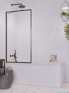 Radaway Idea Black Pnj Frame parawan nawannowy 70cm L/P 10001070-54-56 - plytki-lazienki Bath Screens, W 6, Oversized Mirror, Loft, Bathroom, Easy, Furniture, Home Decor, Products