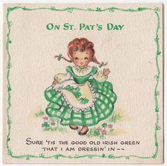 Vintage Greeting Card St Patrick's Day Irish Girl Hallmark 1940s Cute A071   eBay