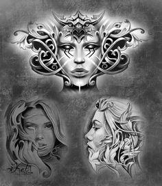 Ozzy Tattoo, Neo Tattoo, Tatoo Art, Chest Tattoo, Head Tattoos, Body Art Tattoos, Sleeve Tattoos, Tattoo Sketches, Tattoo Drawings