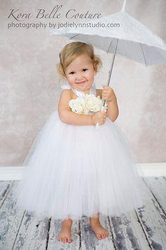 Petite Rose Flower Girl---Baptismal or Christening Tutu Dress---Listing is for 0 to 2 Years