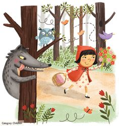Little Red Riding Hood by Julissa Mora. Fairytale, Wolf, Owl, Hungry, Basket, Woods, Forest, Trail.