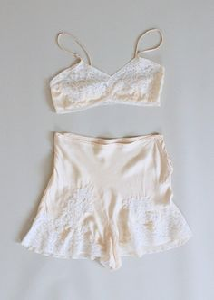 Vintage 1930s Ivory Silk and Lace Tap Pants and Bra Set