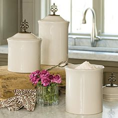 Make a statement in your kitchen that's elegant AND functional! Belle Meade Canisters: Set of 3 for Willow House Kitchen Pantry, Kitchen Hacks, Kitchen Decor, Kitchen Ideas, Canister Sets, Canisters, Simply Beautiful, Beautiful Homes, Willow House