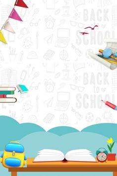 School Season School Starting School Student Back To School Simple Background Images, Kids Background, Cartoon Background, Paint Background, Background Templates, Doodle Background, Student Cartoon, School Cartoon, School Border