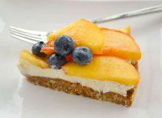 Peach, Pecan & Mascarpone Tart = Crust: Medjool dates + pecans + almonds + coconut oil + cinnamon   Mascarpone + cream + honey/maple syrup + vanilla   peaches + berries