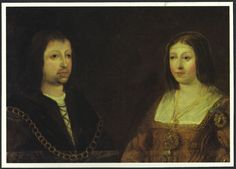 This postcard shows the only true portrait of Los Reyes Católicos (Ferdinand and Isabella).  It is located at the Monasterio de Nuestra Señora de Gracias in Madrigal de las Altas Torres (Avila), Spain. Even though it is small, it is beautiful!