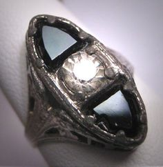 Antique White Sapphire Paste Wedding Ring Rhodium Filigree Art