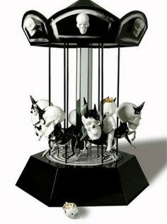 Skeleton ponies on carousel