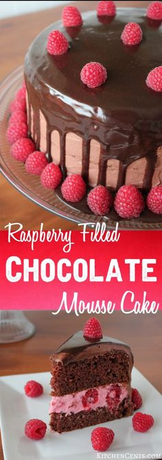 With its raspberry filling, layers of moist chocolate cake, airy chocolate mousse and rich chocolate ganache, this Raspberry Filled Chocolate Mousse Cake is fit for royalty. Köstliche Desserts, Delicious Desserts, Food Cakes, Cupcake Cakes, Cupcakes, Cupcake Ideas, Cake Recipes, Dessert Recipes, Frosting Recipes