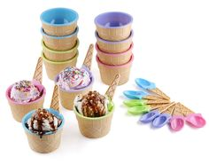 Amazon.com | Greenco Vibrant Colors Ice Cream Dessert Bowls and Spoons (Set of 12): Dessert Bowls