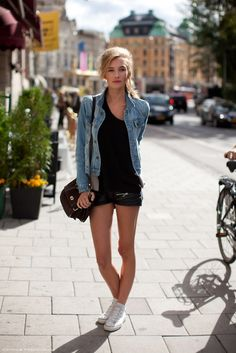 denim jacket, black clothes, black bag, white shoes