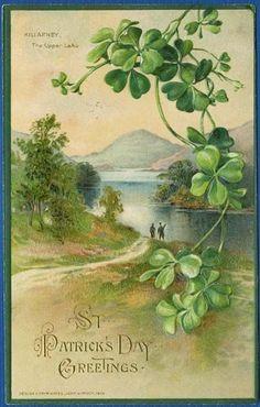 Shop Four Leaf Clover Killarney Mountain Postcard created by kinhinputainwelte. Vintage Greeting Cards, Vintage Postcards, Vintage Images, Vintage Pictures, Fete Saint Patrick, St Patricks Day Cards, Saint Patricks, Irish Blessing, St Paddys Day