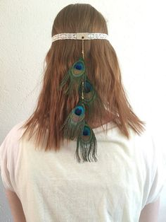 Bohemian lace headband with peacock feathers on goldcolored chain